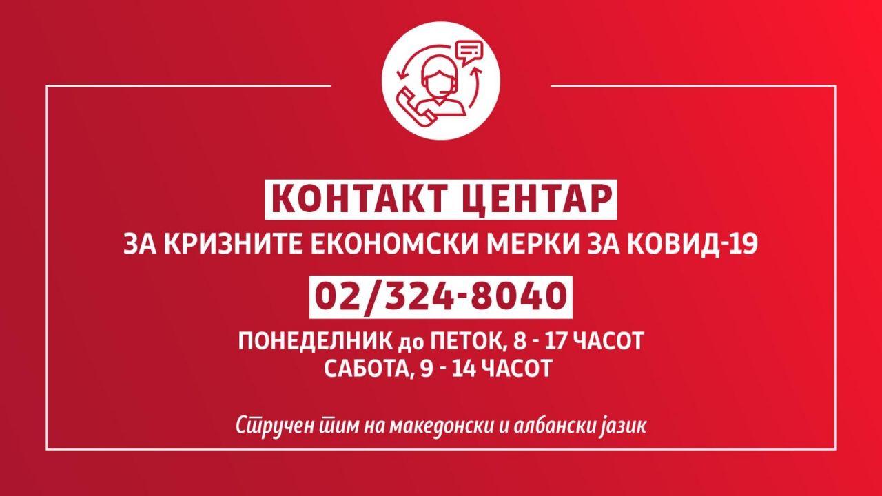 Во контакт центарот за економските мерки се јавиле 1.579 лица за една недела